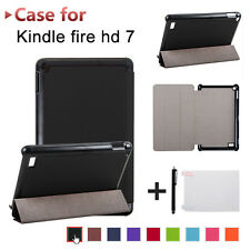 Folding Leather Back Case Cover+Film+Stylus For Amazon Kindle Fire 7 2017 Tablet