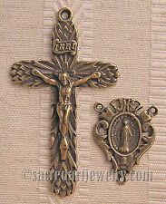 VINTAGE ROSARY PARTS SUPPLIES Thistles Crucifix Center Sterling Bronze 283-609