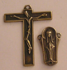 VINTAGE ROSARY PARTS SUPPLIES Gothic Center Crucifix Sterling Bronze 344-695