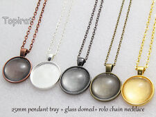 10kits 25mm Pendant Tray Blank Pendant Setting+Rolo Chain Necklace+Glass Domed