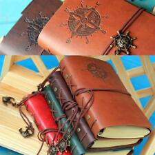Retro Vintage PU Leather Bound Blank Page Notebook Note Notepad Journal Diary B1