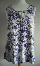 NEW - GEORGE - size 10 12 16 - White/Purple floral print ladies TOP/ TUNIC BNWoT
