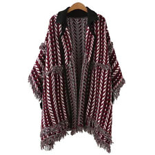 Womens Collared Boho Knit Fringed Open Front Cardigan Sweater Poncho Outwear