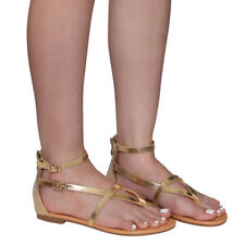 Contemporary Women V-Strap Thong Flat Gladiator Sandals Run One Size Small Gold