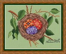 EASTER NEST Religious Counted Cross Stitch Chart Needlework Pattern PDF