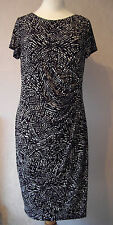 BN GEORGE - size 8 – 12 - classic Black/White abstract PRINT SHIFT DRESS - BNWoT