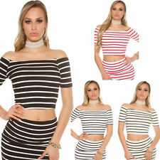 Ladies Ribbed Short sleeve Cropped Crop Top Shirt Bare Belly Stripes Navy S 32
