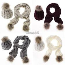 Stylish New Women's Ladies Knitted Winter Warm Faux Fur Ski Hat Scarf OK 01