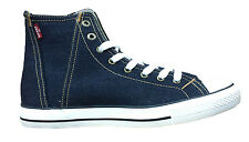 MENS LEVIS HI TOP DENIM LACE UP BOOTS 223278 - INDIGO BLUE DENIM