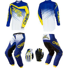 ONeal Element Blue / Yellow motocross dirtbike gear - Jersey Pants Gloves Combo