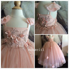 Pink Wedding Party Formal Flower Girl Dress Pageant Party Dance BallGown Crystal