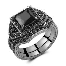 2.0ct Princess Cut Black Sterling Silver CZ Created Wedding Engagement Ring Band