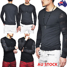 Fashion Mens Long Sleeve Slim Fit T-Shirt Hollow Out Mesh Tops High Street Tee