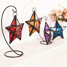 Glass Hanging Five-pointed Star Light Holder Candle Lantern Bar Decor Peachy