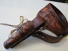 CALIBER .38/.357 COWBOY WESTERN FAST DRAW GUN HOLSTER RIG TOOLED LEATHER