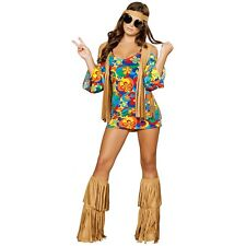 Sexy Hippie Costume Adult 60s/70s Flower Child Halloween Fancy Dress