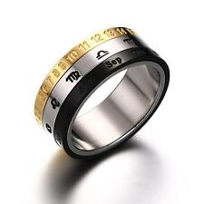 Constellations/Roman Numerals Band Men's Stainless Steel Calendar Ring Size 7-12
