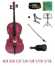 Merano New Student Hot Pink Cello,Bag,Bow+2 Sets of Strings+2 Stands+Mute+Rosin