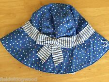 NWT Gymboree Bubbly Whale Blue Dots Sunhat Chin Strap SZ 6 12 mo Baby Girl