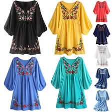 Women 70s Vintage Ethnic Mexican Embroidered Pessant Hippie Boho Chic Mini Dress