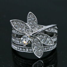 Dragonfly CZ White Gold Plated Women Fashion Jewelry Ring J005