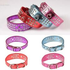 New Bling Rhinestone Dog Collars Pet Puppy Cat Crystal Synthetic Leather BLLT