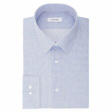 Calvin Klein Men's Slim Fit Non Iron Stretch Print Point Collar Dress Shirt Blue