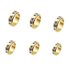 """Retro Carved Rotatable 6 Lucky Words Mantra """"Om Mani Padme Hum"""" Finger Rings 1Pc"""