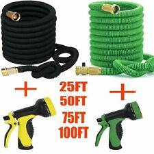 Deluxe 25 50 75 100 FT Flexible Garden Water Hose with Spray Nozzle Expandable Y