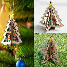 3D Wooden Christmas Decoration Xmas Tree Pendants Hanging Party Home Decoration