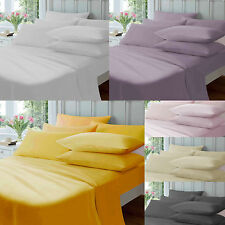 Thermal Flannelette 100% Brushed Cotton Fitted Flat Sheet Duvet Cover Bed Set