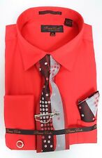 Bruno Conte Dress Shirt Solid Textured Red French Cuff Shirt Tie Set