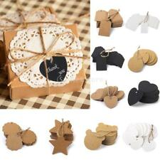 100pcs Vintage Kraft Paper Gift Card Tags Blank Label Party Luggage Tags