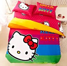 *** Rainbow Hello Kitty Queen Bed Quilt Cover Set - Flat or Fitted Sheet ***