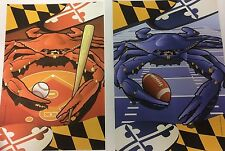 2 FLAG SET - Baltimore ORIOLES Crab AND RAVENS Crab Garden Flags Banner Maryland