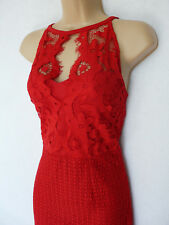 Lipsy Red all lace fishtail high neck stretch Maxi Dress Prom Cocktail Ball gown