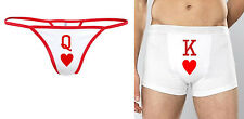 KING OF HEARTS QUEEN OF HEARTS BOXERS THONG MENS WOMENS UNDERWEAR PANTS KNICKERS