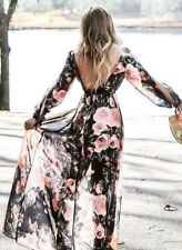 Chiffon Open Back Maxi Dress V Neck Floral Long Split Sleeve Vacation Elegant