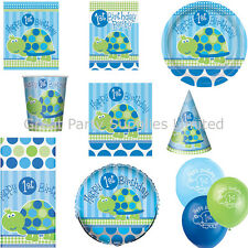 1st Birthday Boys Turtle Party Supplies - Plates, cups, napkins etc - Free P&P