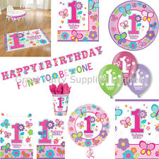 Sweet Girls 1st Birthday Party Pack for 8 - Plates Cups Napkins Banner plus more