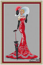 LADY IN RED DRESS People Counted Cross Stitch Chart Needlework Craft Pattern PDF