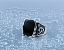 Mens Gothic Celtic Knot Black Stone Silver Stainless Steel Biker Cool Mens Ring