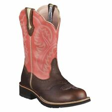 "ARIAT LADIES SHOWBABY BROWN OILED ROWDY/WILD ROSE 10"" FATBABY 10001205 (16981)"