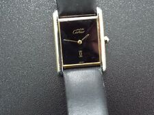 Must de Cartier Vermeil 18ct Gold on Solid Silver Tank Watch with Cartier Buckle