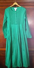 Women's Green Smocked Beaded Dress Bling Cotton Side Pockets The Paragon NEW