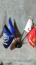 """Military Marines Army Navy Air Force Mini 4""""x6"""" Desk Stick Flags Set, W/ Stand"""