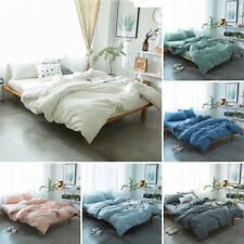 Solid Color Washed Cotton Bedding Set Duvet Cover Flat/Fitted Sheet Pillowcase