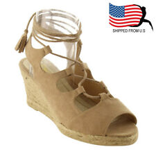Contemporary Women's Lace Up Strappy Espadrille Platform Wedge Sandals Taupe