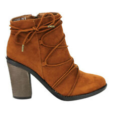 Contemporary Women Lace Wrap Side Zipper Chunky High Heel Ankle Bootie Chestnut