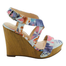Chic Contemporary Women's Criss-Cross Ankle Strap Wedge Sandals Floral